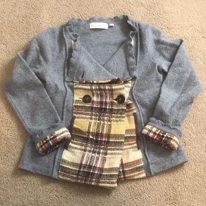 Anthropologie boiled wool and plaid jacket